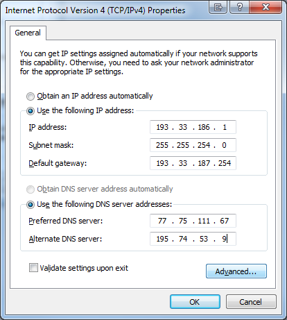 Enter Primary IP Address, Subnet gateway and DNS <a href=